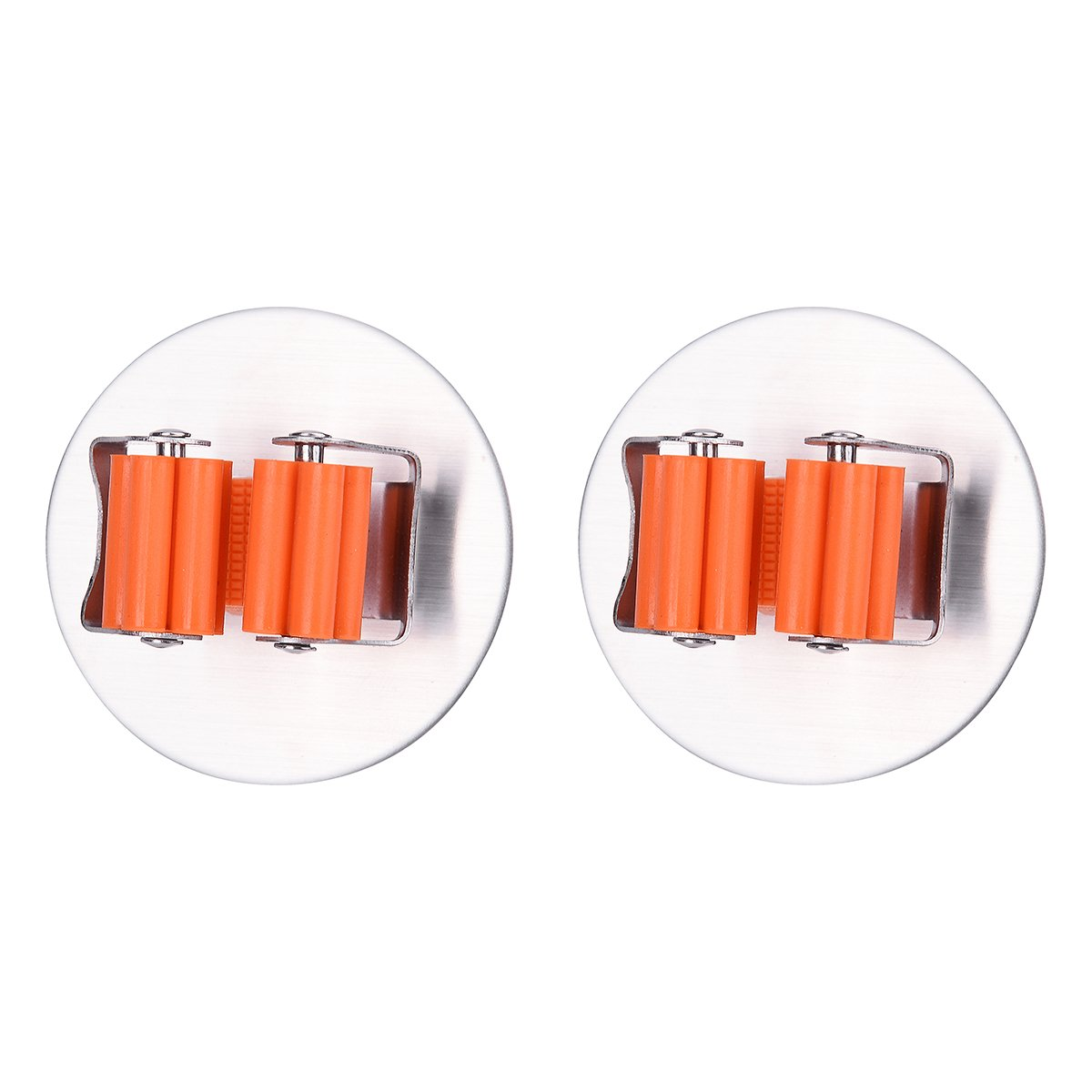 Mop Broom Holder Organizer, 2 Pcs 3M Self Adhesive Wall Mounted Mop Hooks Broom Hanger Holder with Spring Clip Design Bath Mounted Home Tools/ Kitchen Organizer Rack(Round, Orange) Rong Sa