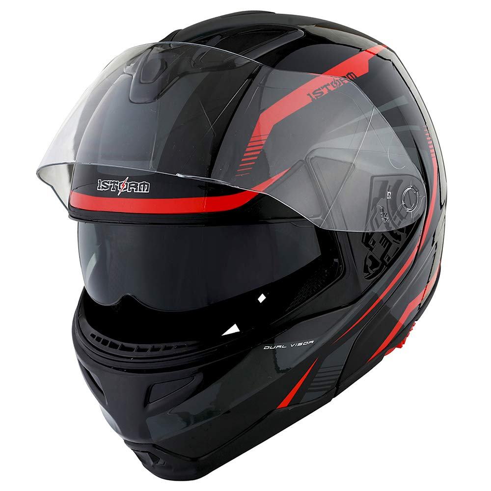 1Storm Motorcycle Street Bike Modular/Flip up Dual Visor/Sun Shield Full Face Helmet Storm Tron Red by 1Storm (Image #4)