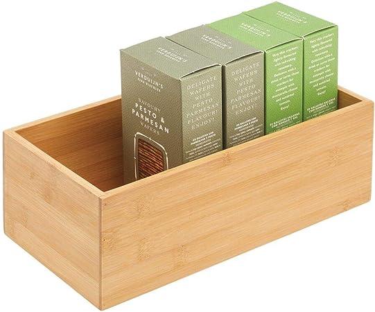 mDesign Caja de bambú de almacenaje – Organizador de cocina de madera de bambú ecológica – Caja para