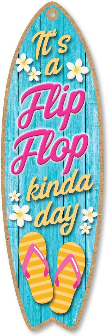 Honey Dew Gifts Wooden Surfboard Signs, It's a Flip-Flop Kinda Day, 5 inch by 16 inch, Wooden Hanging Sign, Decorative Wall Art, Home Party Summer Decor