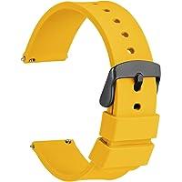 WOCCI Silicona Correa Reloj con Hebilla Negra de Acero Inoxidable, Liberación Rápida para Hombre Mujer, 14mm 16mm 18mm…