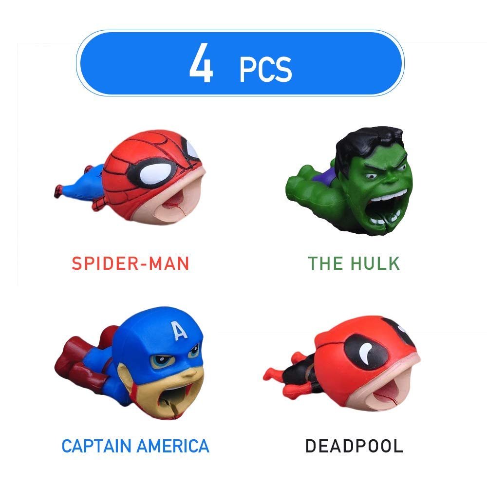 Cute Anime Bite Cable Protector - 4 PCS (Captain America,Hulk,Spider-Man,Deadpool) Charger Pet,Cable Buddy(Compatible with iPhone Cords Only),Gift Fit Friends & Children