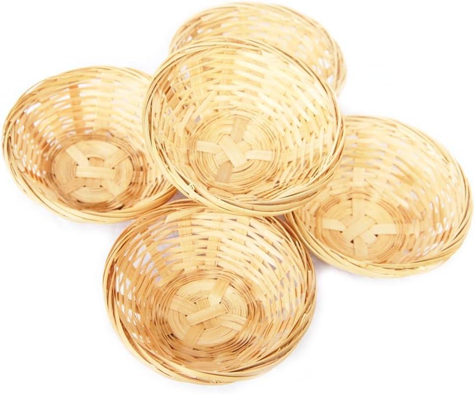 Juego bambú cestitas, cesta redonda trenzada decoración, aprox. 15x 5cm, a elegir 5o 10unidades, madera, beige, 5 er Set