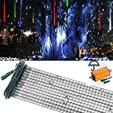 LEDJump Linkable 20 Inch Long RGB Multi-Colors Snowfall Meteor Shower Lights 16FT Wire Extension Set of 12 waterproof transformer