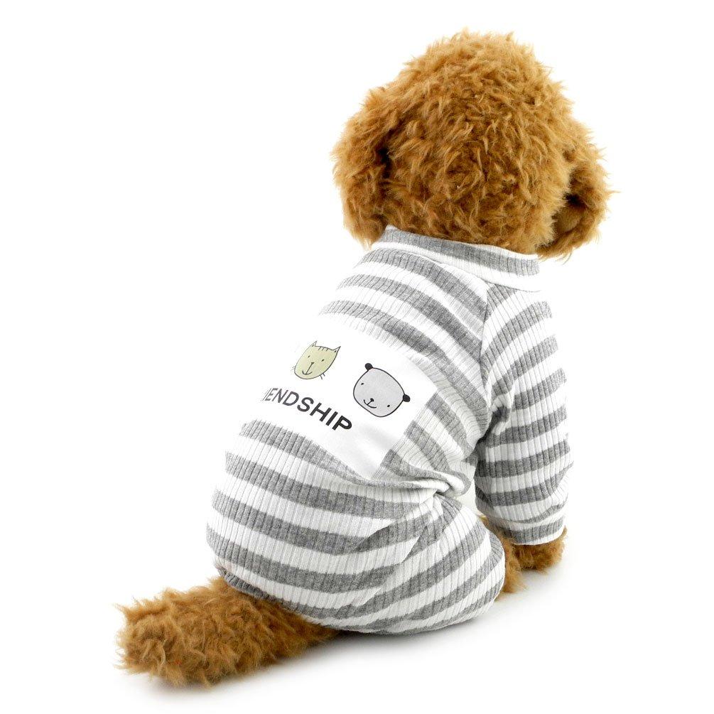 Smalllee Lucky Ranger Pet JumpSuit tenues de petit chien Doggie Vêtements pour animal domestique pour homme avec à rayures, grande, gris, YP0233-Pink-S