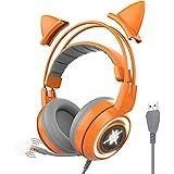 SOMIC G951-Orange ヘッドホン ヘッドフォン ps4に対応 7.1ch マイク付き ゲーミングヘッドフォン ゲームセット ゲーム用 LEDライト USBポート搭載 猫耳 広い適用場 取り外し可能な耳 オレンジ