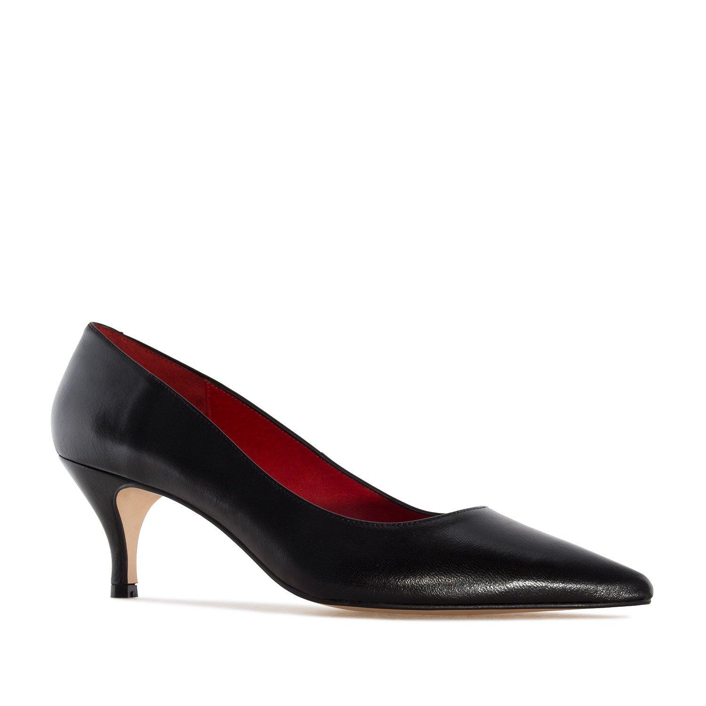 Andres Machado.Amanda.Zapato Tacón Medio de Piel de Mujer.Tallas Pequeñas y Grandes de la 32-35/42-45.Made IN Spain 45 EU|Negro