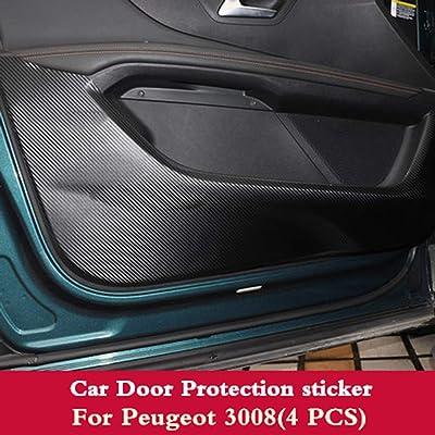 LUVCARPB 4 pcs Porte de Voiture en Cuir Anti-Coup de Pied Pad Autocollant Protection de la Porte côté Film en Fibre de Carbone, pour Peugeot 5008 3008 2017 2019 2019 Sports et Loisirs