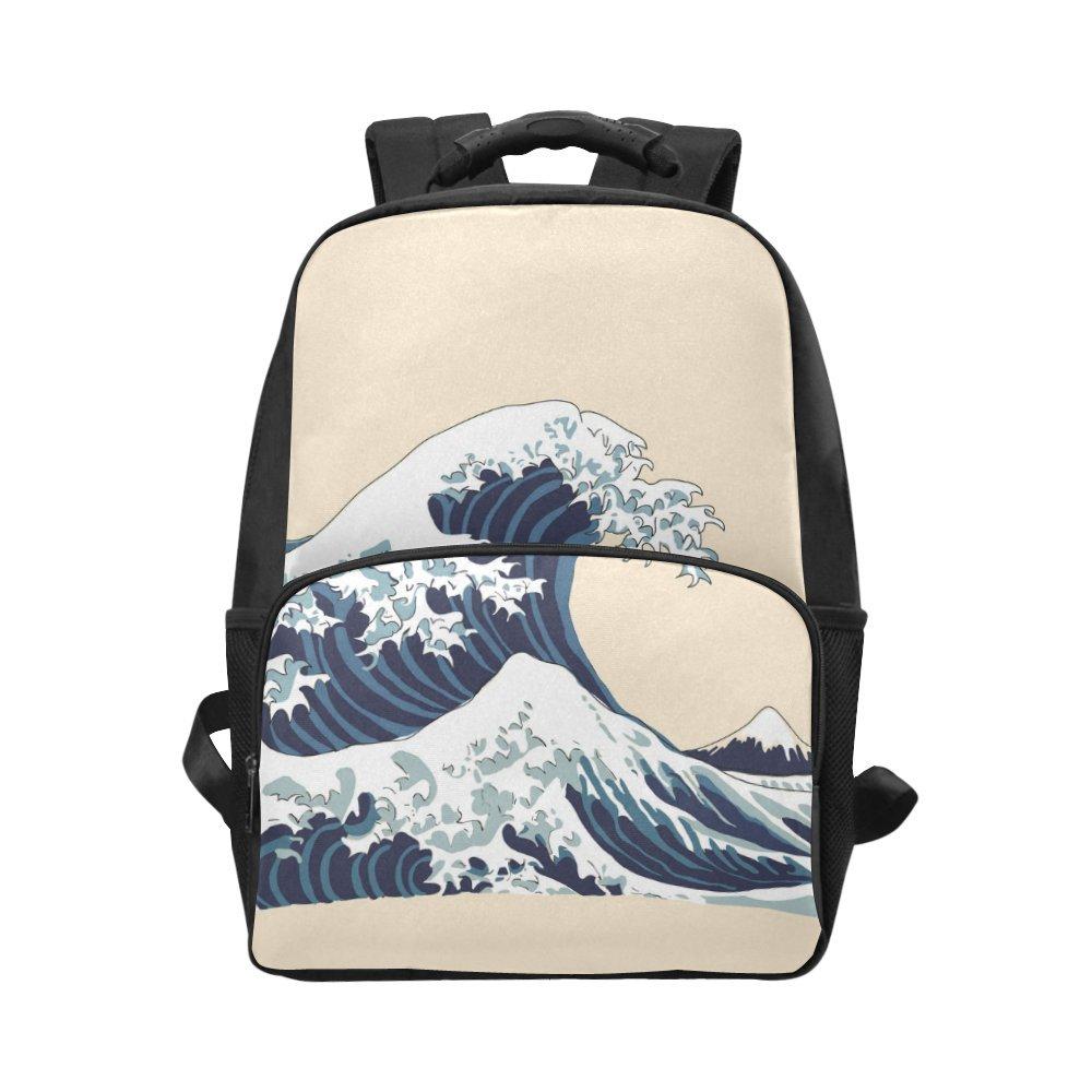 8d7f9acbb2d4 hot sale InterestPrint Japanese Wave Custom Casual Backpack School ...