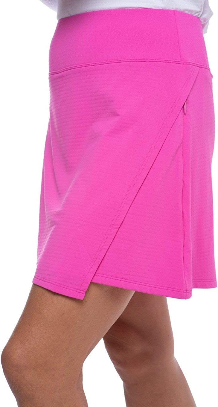 26000 Cooling Solid Faux Wrap Skort IBKUL Womens Sun Protective UPF50