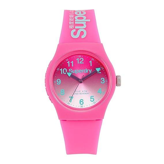 Superdry Reloj Analógico de Cuarzo para Mujer con Correa de Silicona - SYL198PN: Superdry: Amazon.es: Relojes