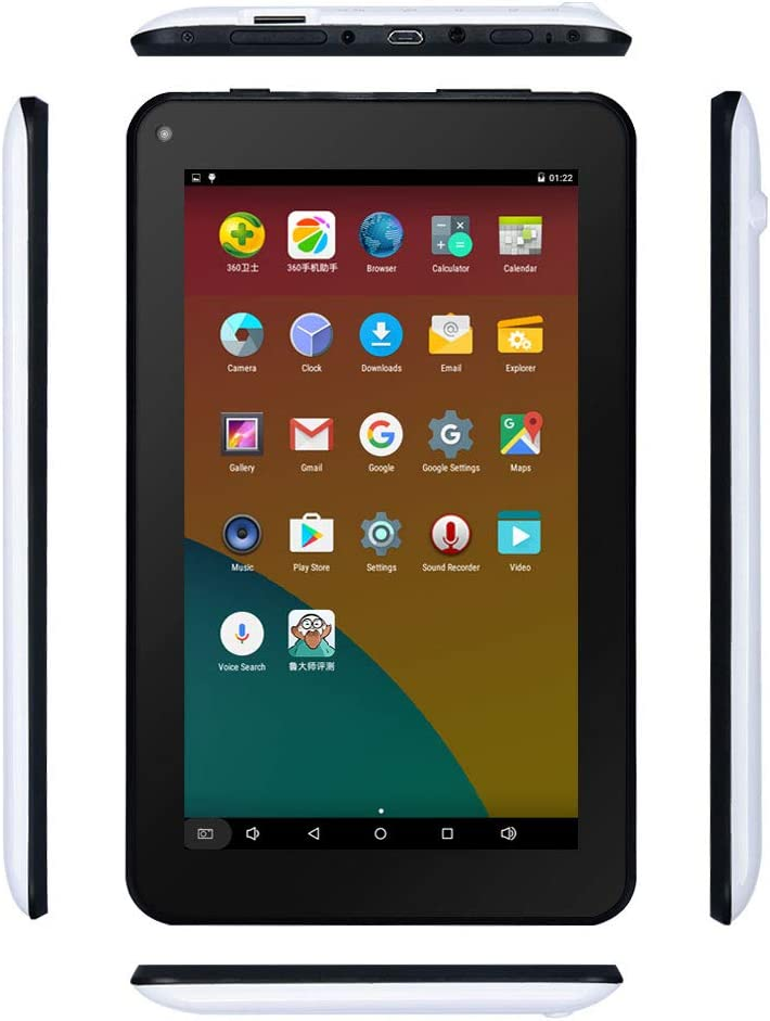 Haehne 7 inch Tablet, Android 6.0, Quad Core Processor, 1G RAM 16GB Storage, Full HD Display, Dual Camera, FM, WiFi Only, Bluetooth, White