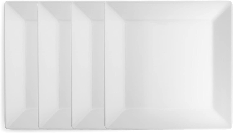Q Squared Diamond White BPA-Free Melamine Dinner Plate, 10-1/2 Inches, Set of 4, White