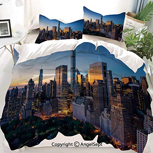 Homenon City Decor Duvet Cover Set Full Size,Sun Rising Over Central Park in Manhattan Tranquil Morning Skyscrapers,Decorative 3 Piece Bedding Set with 1 Pillow Shams