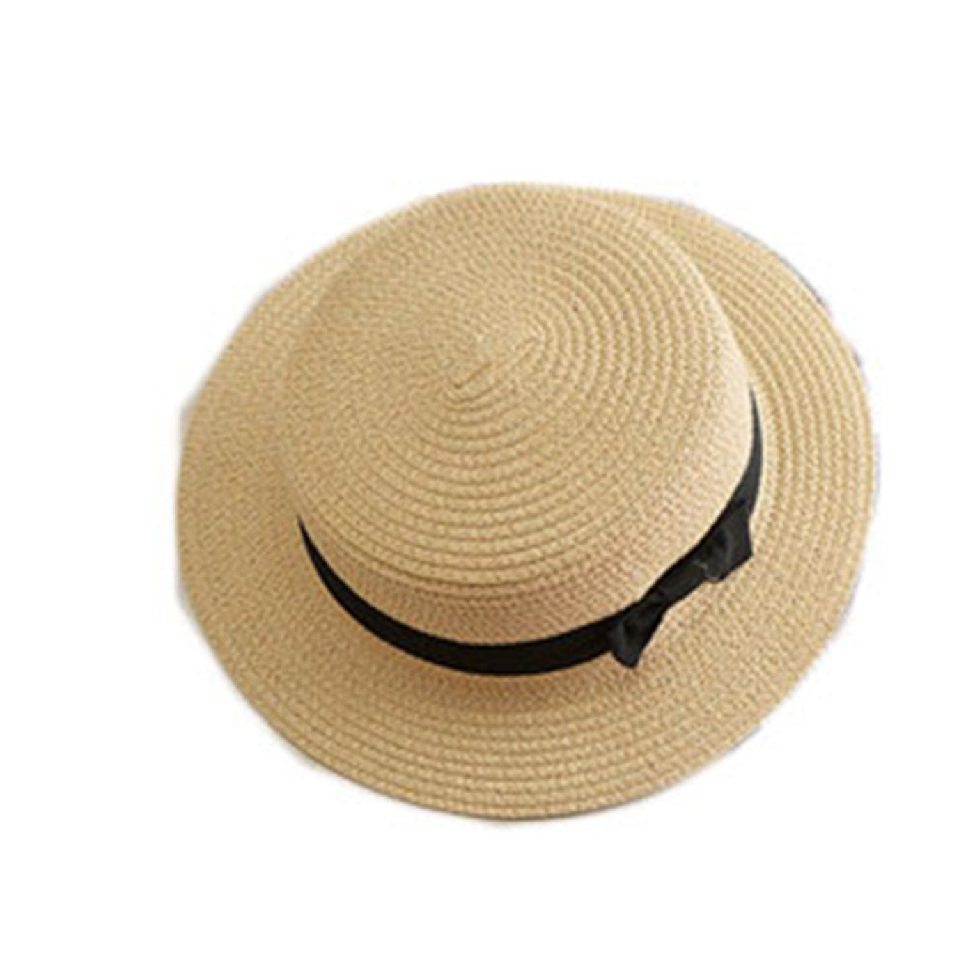 Miki Da Lady Boater Sun caps Ribbon Round Flat Top Straw Beach Hat Panama Hat Summer Hats for Women Straw Hat Snapback 1