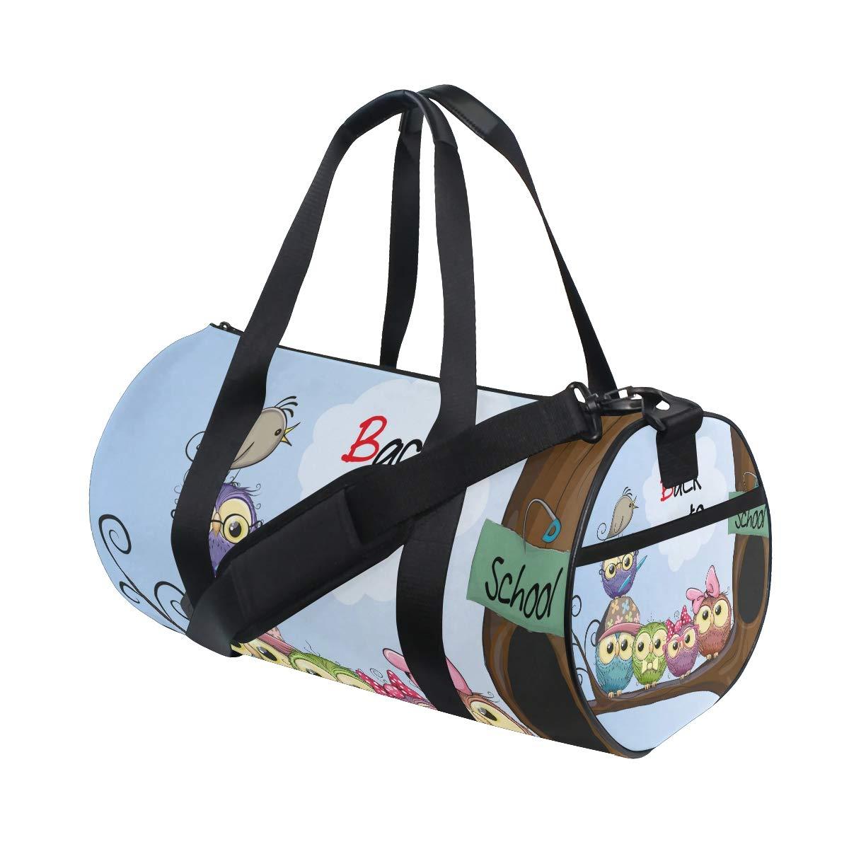WIHVE Gym Duffel Bag Cartoon Owls Tree Branch Back School Sports Lightweight Canvas Travel Luggage Bag