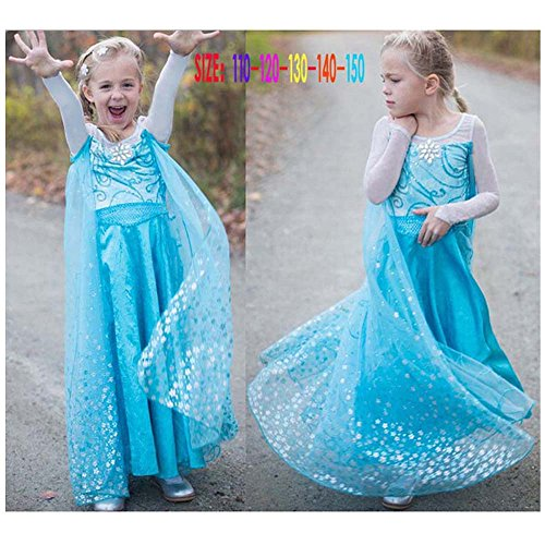 FE12 Disney Frozen Inspired Lace Elsa Costume Dress Girl Cosplay Party 3T-10 USA