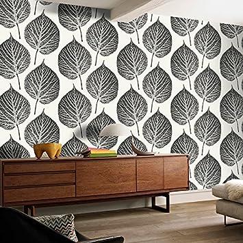 Skandinavische Tapete moderne simple skandinavischen schwarz und weiß blätter 3d tapete
