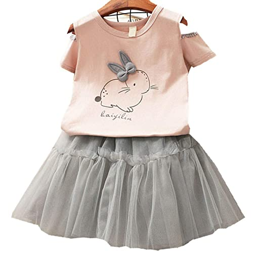 c02f45a81eb1a Toddler Baby Girl Easter Dress Kid Summer Off Shoulder Bunny T-Shirt Tops +Tulle