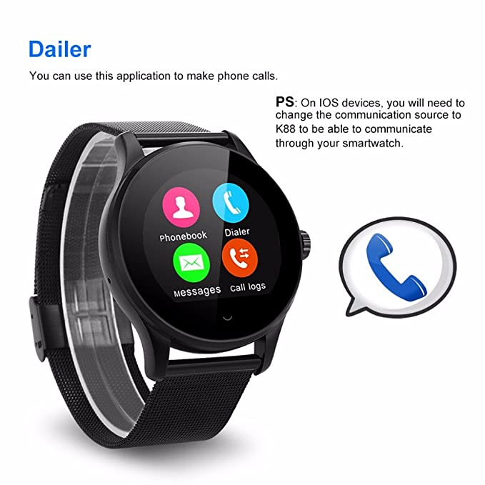 Amazon.com: Bond K88H Bluetooth Smart Watch Phone MTK2502 ...