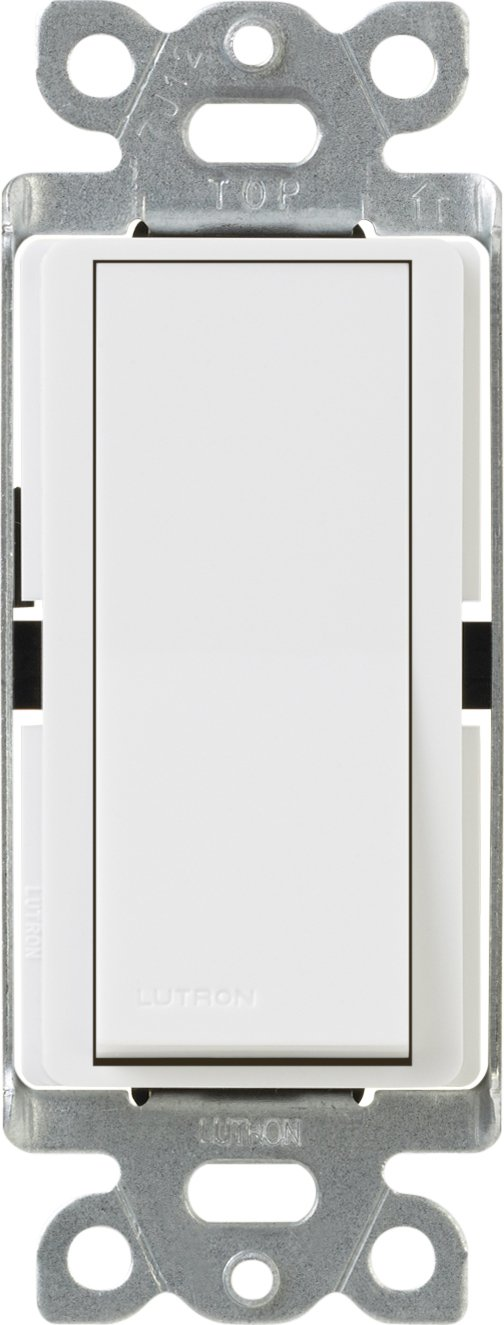 Lutron Claro On/Off Switch, 15-Amp, Single-Pole, CA-1PS-WH, White