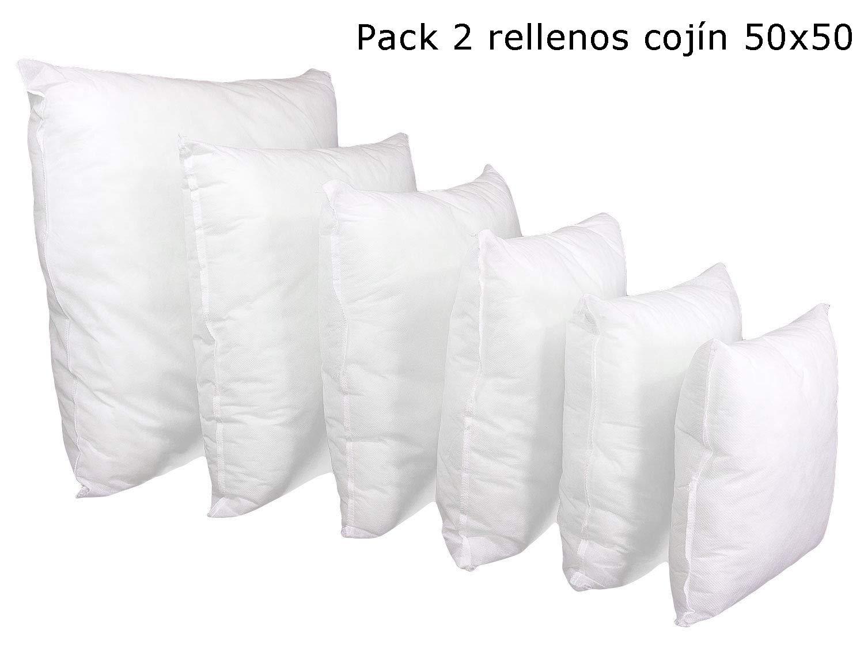 ForenTex Pack 2 Relleno 50x50 cm Fibra Mullido Antialérgico Cojines Sofá, Blanco, 2