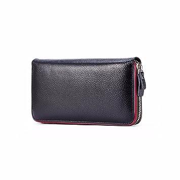 2018 nueva señora larga cartera real de cuero bolso,Black