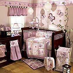 Butterfly Dreams 9 Piece Baby Crib Bedding Set with Bumper by Belle Flower for girls