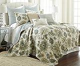 Palladium Grey Full/Queen Quilt Set Cream, Grey, Green/Blue,