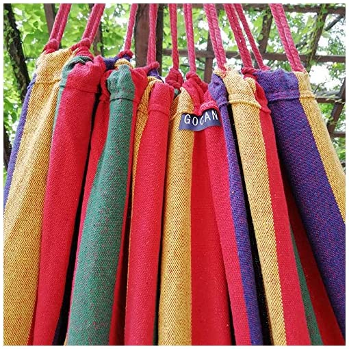 Garden and Outdoor GOCAN Brazilian Double Hammock 2 Person Extra Large 220x160cm Total Length 330cm Load 500lb Canvas Cotton Hammock for… hammocks
