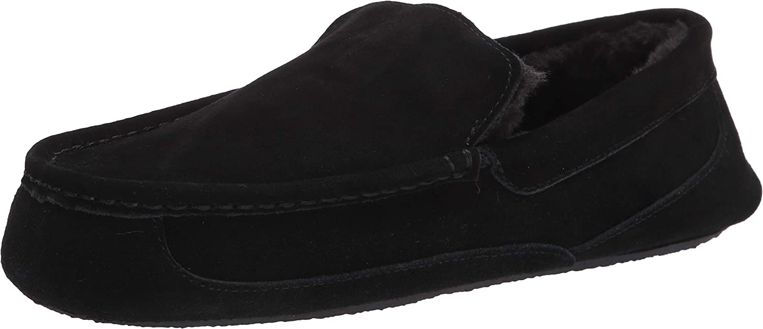 Rossellini Jude Men/'s Moccasin Shoes Black White Faux Suede Loafer Tussle