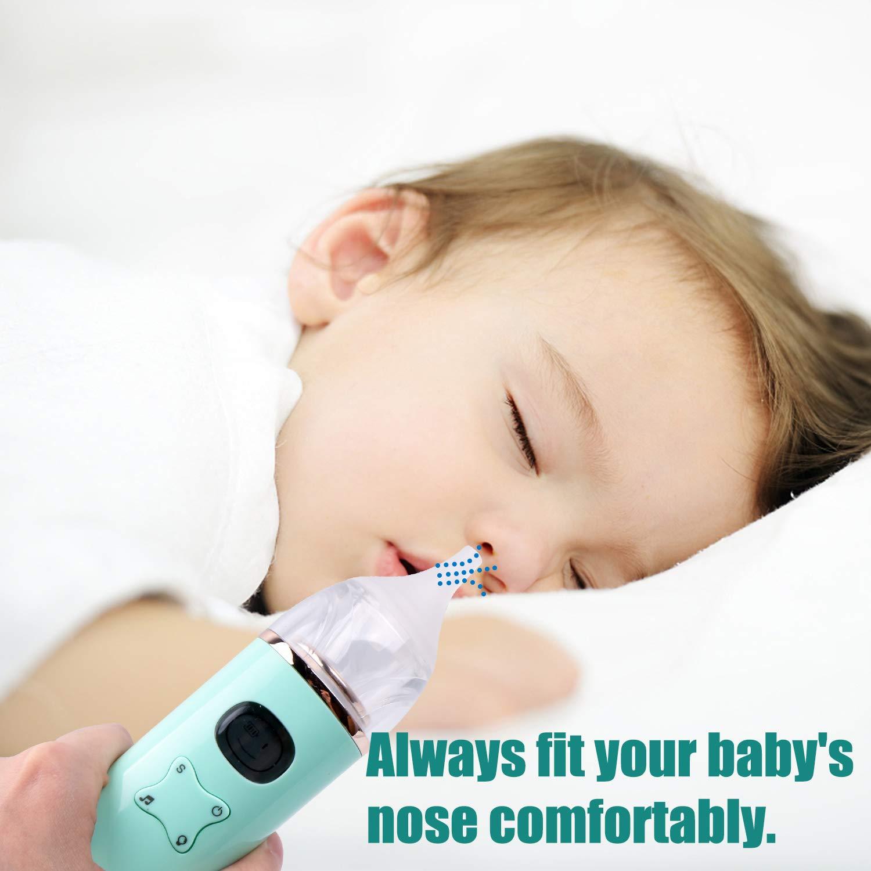 2 ugelli diversi , musica regolabile pulitore per naso ventosa Booger//Snot per neonati Hiveseen Aspiratore nasale elettrico per neonati elettrico display LCD,aspirazione a 3 resistenze