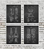 Firefighter Posters Set of 4 Unframed Patent Art Fire Department Decor Boys Room Decor