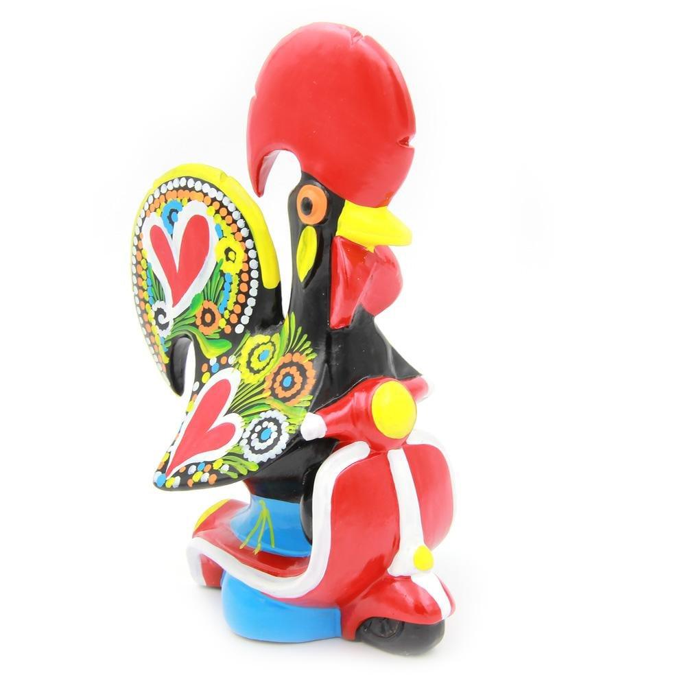 M Oliveira - Gallo decorativo de arcilla portuguesa tradicional pintado a mano con bicicleta: Amazon.es: Hogar