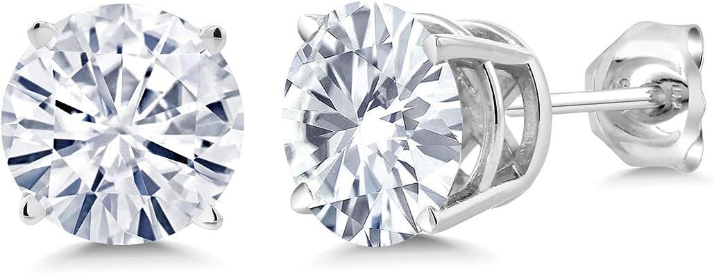 Charles /& Colvard 925 Sterling Silver Earrings Forever Classic Moissanite 5mm