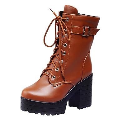e13f7b1e5ffb9b YE Damen Blockabsatz Ankle Boots Plateau High Heels Stiefeletten mit  Schnürsenkel und Schnalle Modern Schuhe