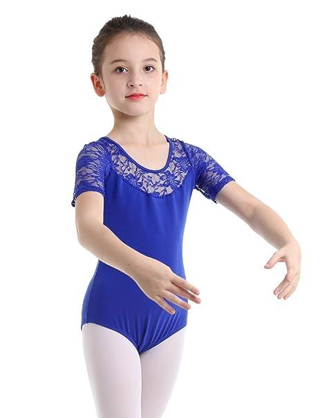 dPois Maillot de Ballet Danza Mangas Cortas para Niña 5-12 ...