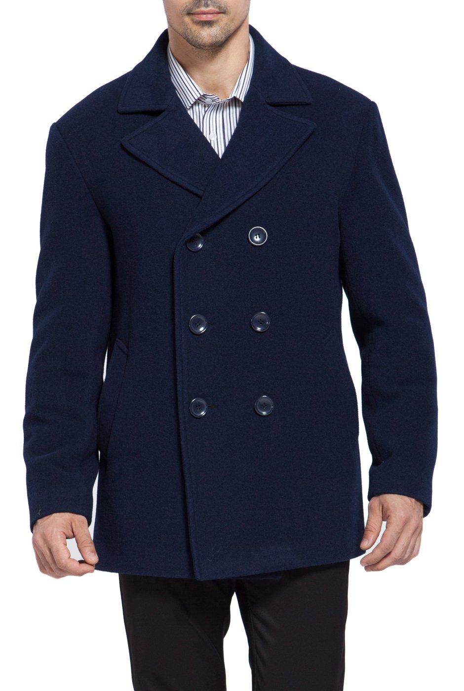 BGSD Men's 'Mark' Classic Wool Blend Pea Coat (Regular Big & Tall)