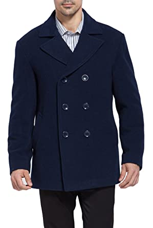 BGSD Men's 'Mark' Classic Wool Blend Pea Coat at Amazon Men's ...