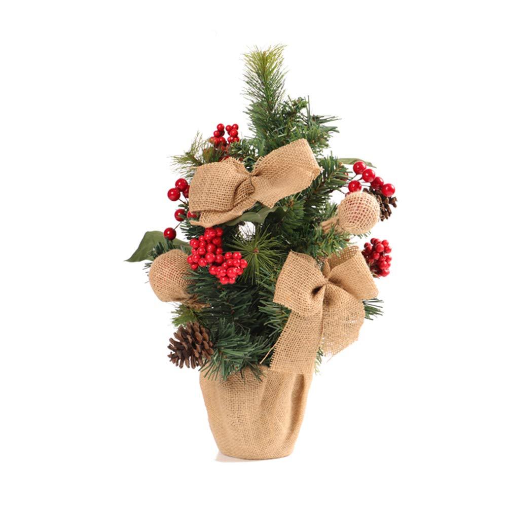 Amosfun Árbol de Navidad de Mesa con decoración de Oficina de Fiesta de Navidad de arpillera Base Bonsai