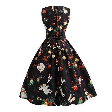 Frauen Weihnachten Kleid, Kingwo Mode Damen Xmas Print Pin Up Swing ...