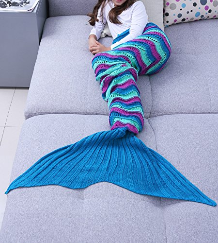 iEFiEL Kids Pre-teens Handcrafted Mermaid Tail Home Blanket Camping Sleeping Bag Blue Purple M (7-14)