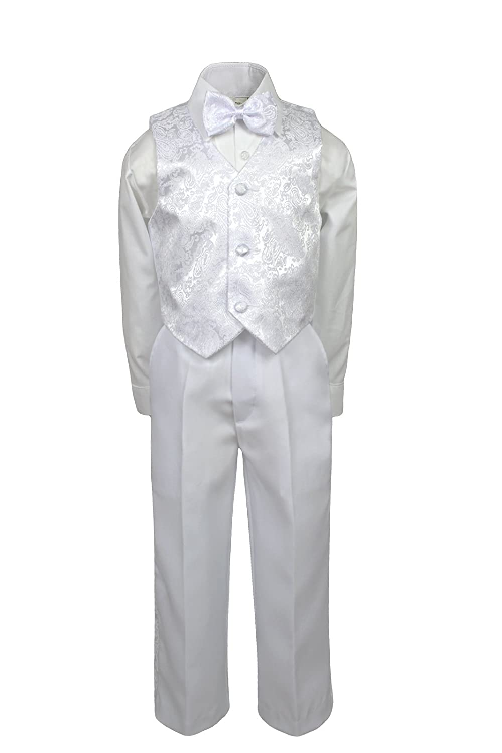 Leadertux 4pc Formal Baby Toddler Boys Baptism White Paisley Vest Sets Suits S-7 (3T)