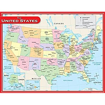 Amazoncom Teacher Created Resources World Map Chart Multi Color - Color in us map