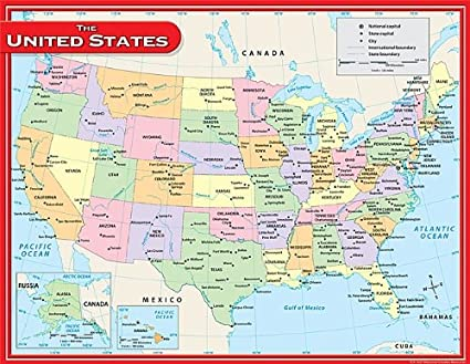Amazoncom Teacher Created Resources Us Map Chart Multi Color - Us-map-chart