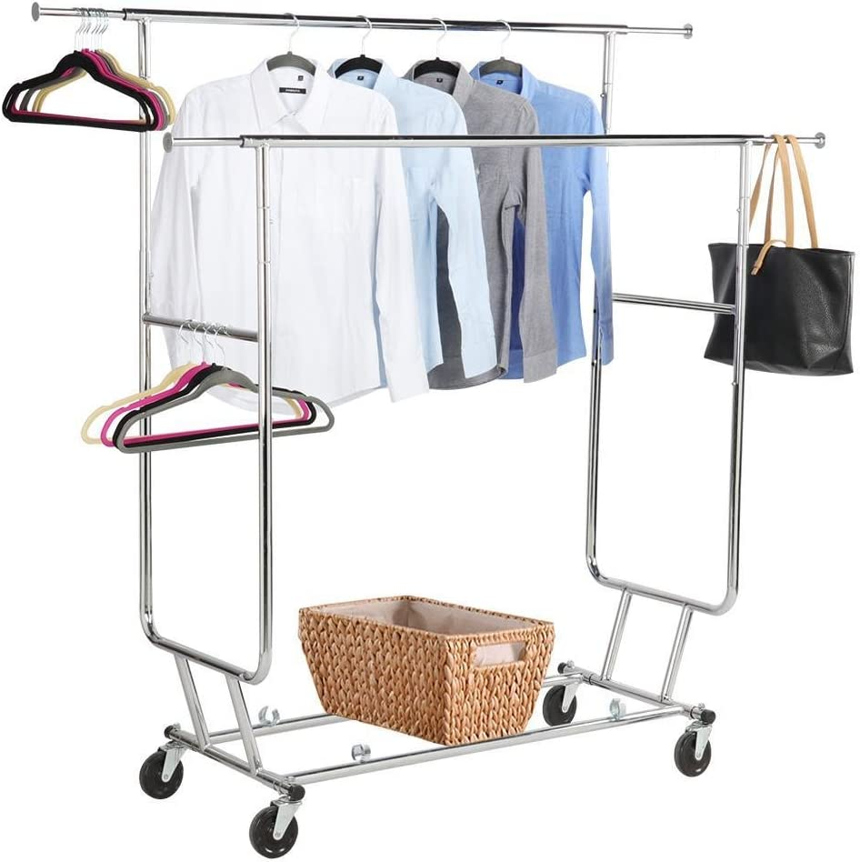 Commercial Grade Garment Rack Rolling Collapsible