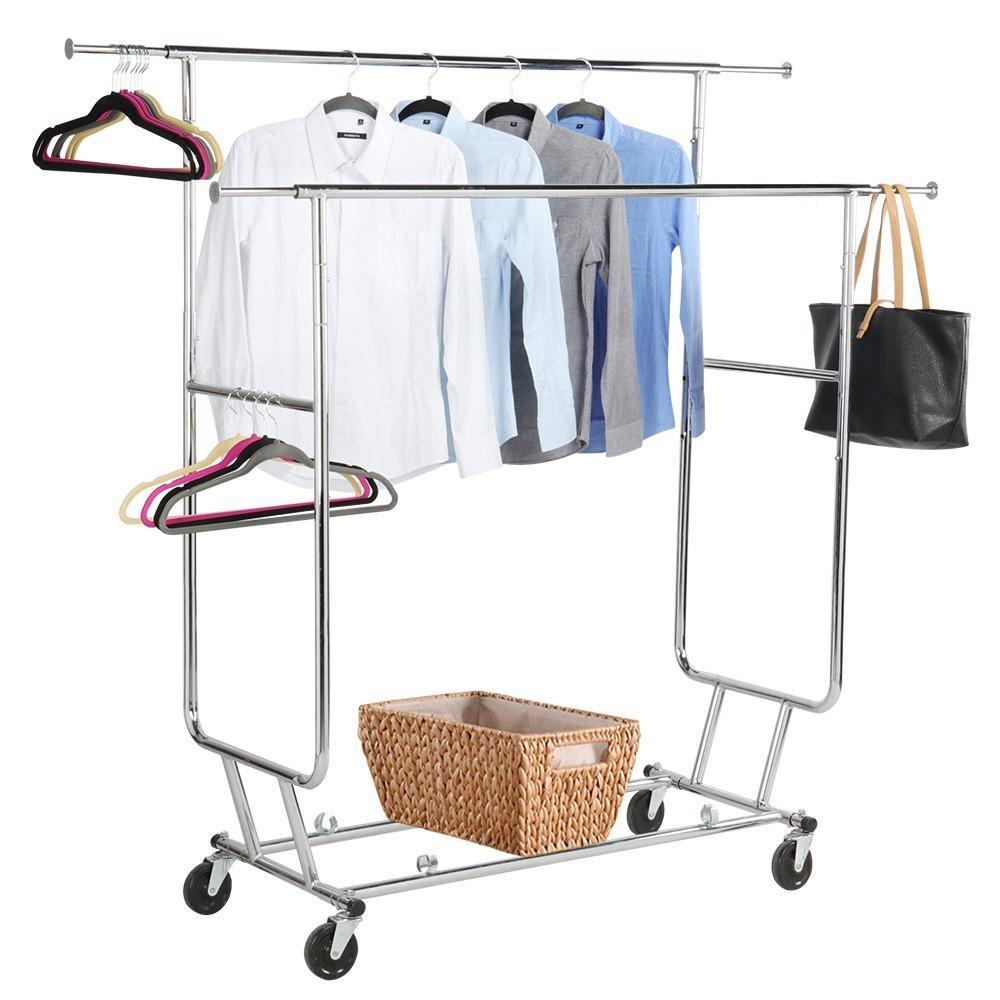 Yaheetech Commercial Grade Garment Rack Rolling Collapsible Rack Hanger Holder Heavy Duty Double Rail Clothes Rack