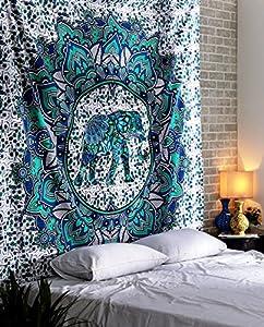 RAJRANG BRINGING RAJASTHAN TO YOU Elephant Mandala Tapestry - Bohemian Wall Hanging Bright Decorative Boho Home Décor