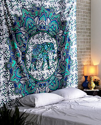 Elephant Mandala Tapestry - Teal Mint Bohemian Wall Hanging Large Decorative Boho Home Decor - Turquoise Green - 90 x 84 Inches