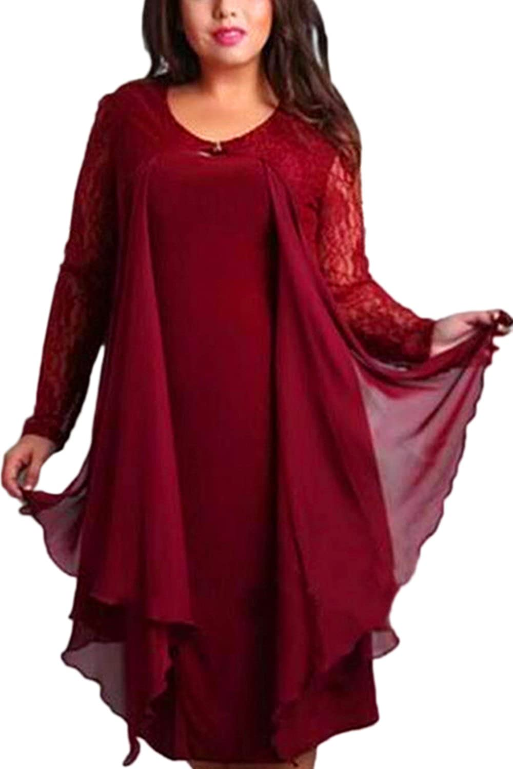 Women Elegant Long Sleeve Ruffles Lace Patchwork Loose Dress Plus Size CANZ1538